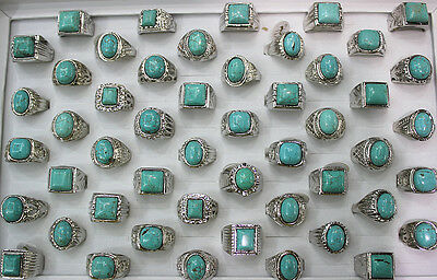 Wholesale Mixed Lots 35pcs Turquoise Natural Stone alloy Men's/women's Rings