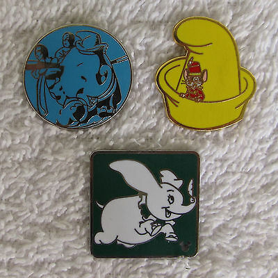 3 Dumbo Trader Pins  Hat with Timothy Attraction Ride  Flying