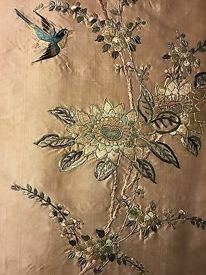RARE ANTIQUE 19th/ 20th c QI'ING CHINESE EMBROIDERED SILK SKIRT EMBROIDERY!