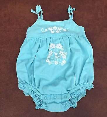 Old Navy Blue Embroidered Flowers Ruffle One Piece For 0-3 Month Baby Girl A4