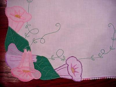 Vintage Hand Embroidered MORNING GLORY Trumpet Flower Tablecloth PRETTY FLORAL