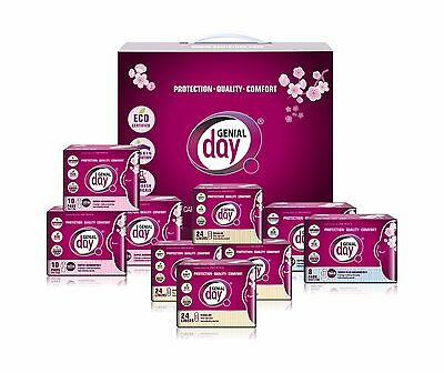 Genial Day Organic Period Kit, Mix Of 9 Packs: Regular 3, Heavy flow 2, Liners 4