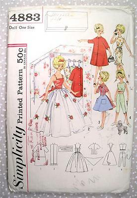 """Vtg 60's Simplicity 4883 12"""" Tammy Doll Clothes Sewing Pattern Some Cut Fashion"""
