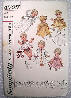 """Vtg 50's Betsy Wetsy 18"""" Doll Clothes Simplicity 4727 Tiny Tears Sewing Pattern"""