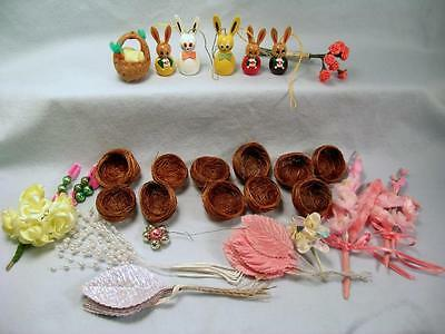 Vtg Easter Decorations Bunny Ornaments Nests Millinery Flowers Carved Baskets