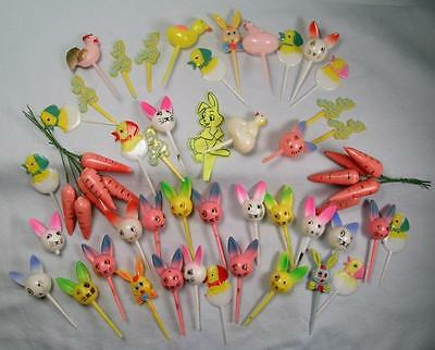 LOT Vtg Easter Cake Picks Decorations Bunny Chick Carrots Toppers