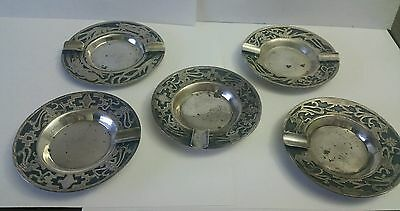 Guatemala 900 Sterling Silver Ashtrays Set