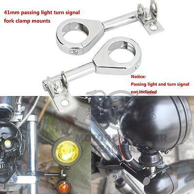41mm Silver Motorcycle Passing Light Turn Signal Fork Mounts Brackets For Yamaha