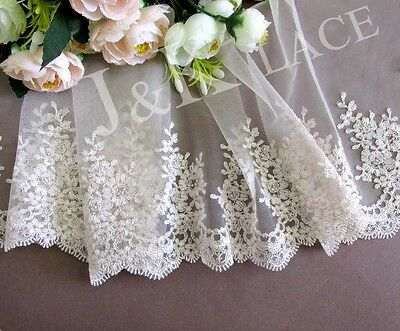 18.5 cm width Pretty Light Champagne / Gold thread Embroidery Mesh Lace Trim
