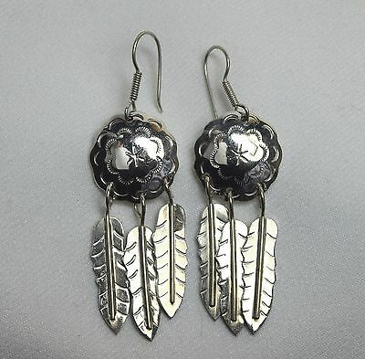 Long VTG Mexico Pierced Sterling Silver Concho Feather Shield Fish Hook Earrings