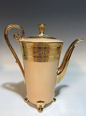 HUTSCHENREUTHER Gilded Peach/Buff Tea Coffee Chocolate Pot/French Empire Style