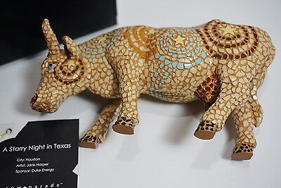 CowParade Figurine  A STARY NIGHT IN TEXAS, 2002, Retired, Box & Styrofoam