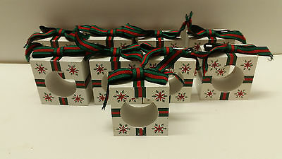 Set of 9 Wooden Christmas Presents Bow Napkin Rings Holders Gift Boxes