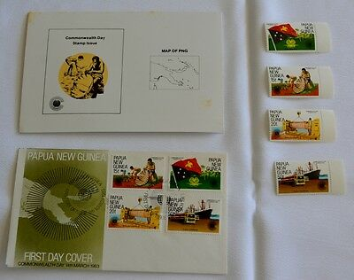 PAPUA NEW GUINEA-1983-Commonwealth Day-Stamp packs, FDC +  MUH stamps