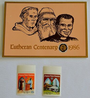 PAPUA NEW GUINEA-1986-Lutheran Centenary -Stamp pack + 2 MUH stamps