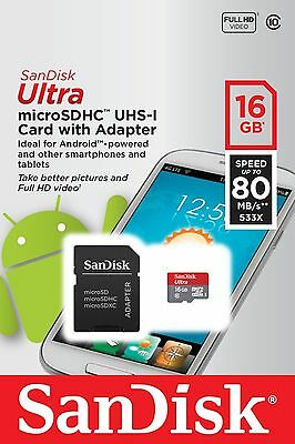 Genuine 16GB SanDisk Ultra Micro SD Card - 80MB/s Class 10 SDHC + Memory Adapter