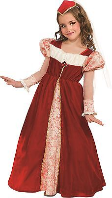 Girls Renaissance Jewel Princess Gown Costume Dress Headpiece Child Fancy Dress