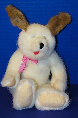 Boyds Bear 1987 Bunny Rabbit Easter Plush Beanie White Brown w Tongue Out