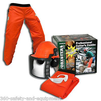 Chainsaw Safety Chaps With Forestry Helmet And Safety Glasses