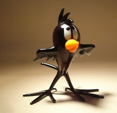 Blown Glass Figurine Bird Black Comic Baby CROW Chick