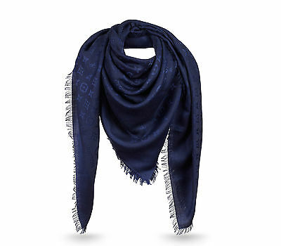 NEW Authentic LOUIS VUITTON Monogram LV Night Blue Silk Wool Shawl Scarf M72412