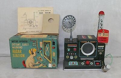 Modern Toys Early Warning Radar Station Battery Operated Tin Japan 1950s Boxed