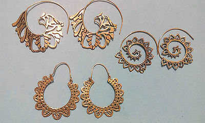 3 Pair Mix Lot Spiral Gold Plated Brass Exclusive Designs Handmade Earrings