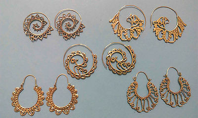 Mix Wholesale 5 Pair Lot Tribal Handmade Spiral Earrings Gold Plated Brass
