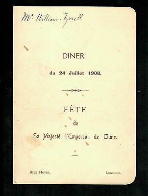 Menu Dinner In Honour Of His Majesty The Emperor Of China 1908