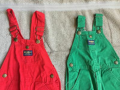 OSHKOSH B'GOSH boy's 5-6 Bib Overalls (2) red green USA VTG 1980s Vestbak farmer