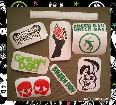 Green Day Vinyl stickers set 8 without background cars, guitar,laptop,skateboard