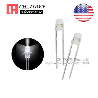 100pcs 3mm Transparent LED Water Clear White Light Diodes Round Top Ultra Bright
