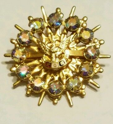 FOE Fraternal Order of the Eagles Gold Tone Iridescent Rhinestones Brooch Pin