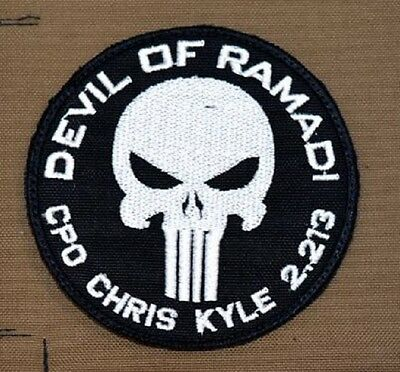 US Navy Seals Devil of Ramadi Chris Kyle 2013 Punisher Skull Army Velcro patch