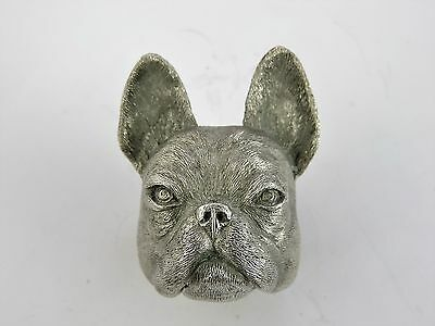 Possibly unique SILVER FRENCH BULLDOG STIRRUP CUP, London 1974, Whisky tumbler