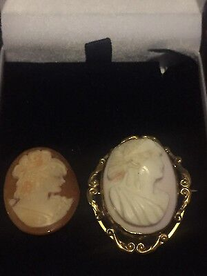 vintage jewellery cameo brooch and carved cameo slight damage