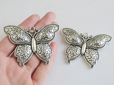 2 Large Tibetan Silver Butterfly Charms Pendants For Jewellery Making Findings