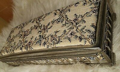 Stunning! Japanese Silver Plated Tapestry Cigar Box? Red Velvet Lining Quality