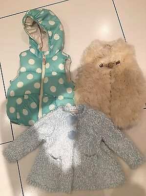 Girls Zara And Monsoon Gillets & Cardigan 12-18 Months