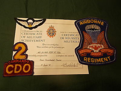 Canadian Airborne Regiment & #2 Commando Lot, Chenille Patches, Wing & Paper