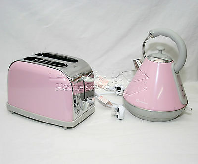 Pink Pyramid Style 1.8L Cordless Electric Kettle & 2 Bread Slice Toaster Set AB