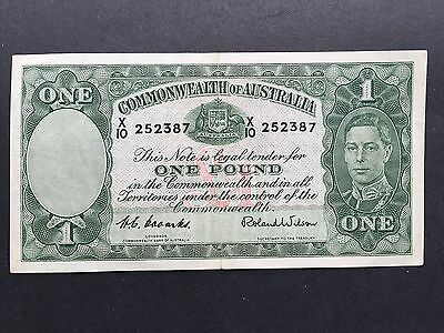 Australia 1 Pound P26d Signed Coombs Wilson King George VI Issue 1952 VF+/aEF