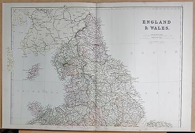 1882 Large Antique Map - England And Wales North , Isle Of Man