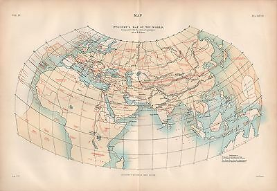 1880 ca ANTIQUE MAP-PTOLOMY'S MAP OF THE WORLD COMPARED TO ACTUAL BY KIEPERT