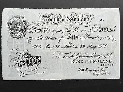 Great Britain Bank England Five 5 Pounds B241 White Fiver 1935 Peppiatt A184 VF+