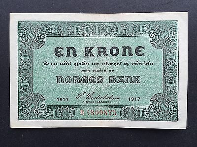 Norway One 1 Krone P13a Dated 1917 EF/EF+
