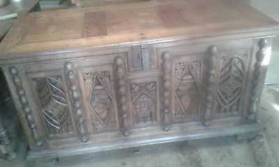 Antique Heavily Carved/detailed French Solid Oak Desk Made From A Chest/coffer