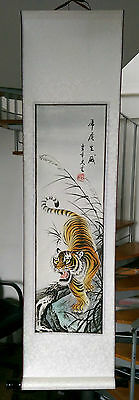 Chinese silk wall hanging scroll unused and boxed