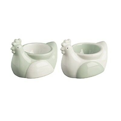 Price & Kensington Farmhouse Kitchen Chicken Shaped Egg Cups Set of Two NEW