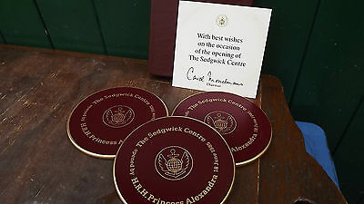 1985 Princess Alexandra Boxed set of 3 coasters Opening of The Sedgwick Centre